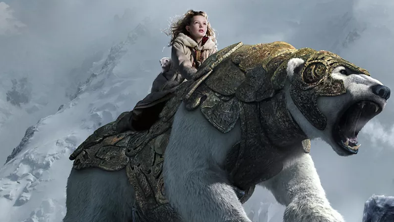 Dakota Blue Richards as Lyra in the film adaptation of the series, The Golden Compass.