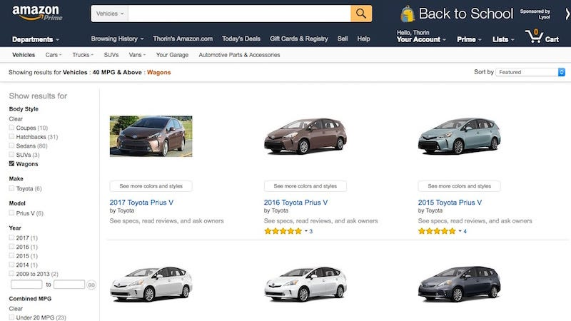 Illustration for article titled Amazon Vehicles Is a Massive Database for Researching and Comparing Cars