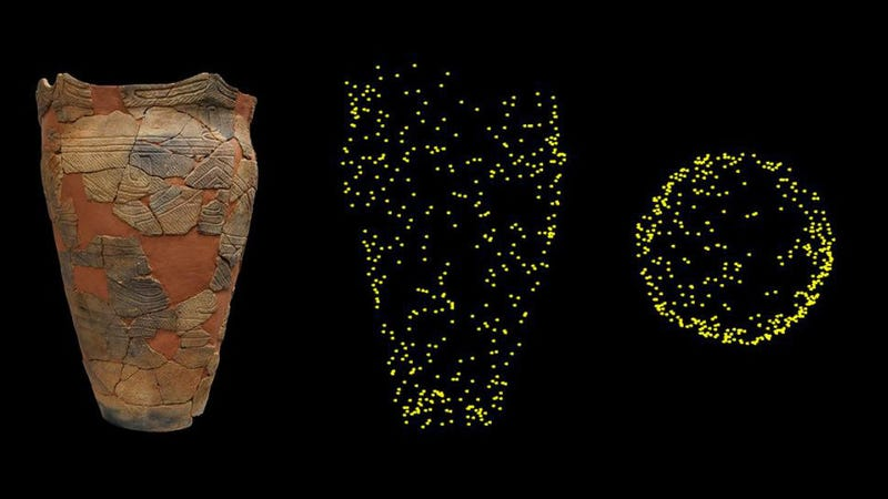 The pottery vessel with maize weevil impression along with x-ray images, in which the yellow dots show the location of the weevils within the pot.