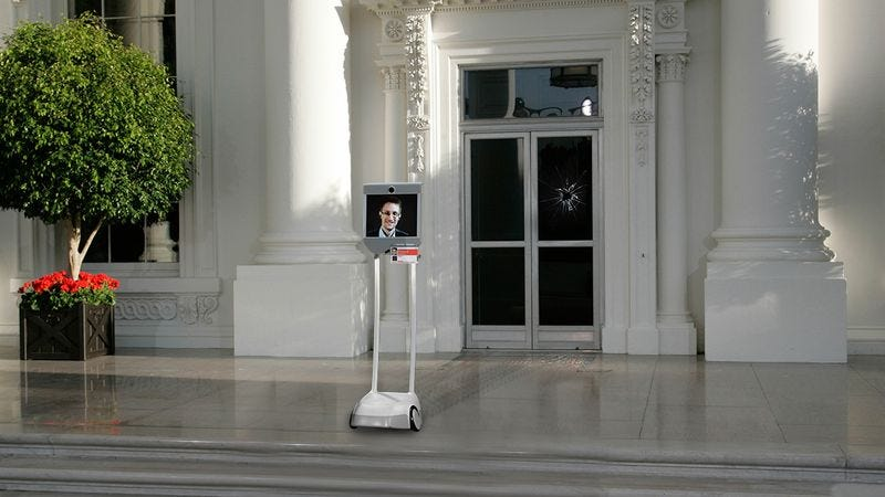Illustration for article titled Security Breach: Edward Snowden's Robot Has Been Ramming Into The White House Front Door For 3 Hours Straight