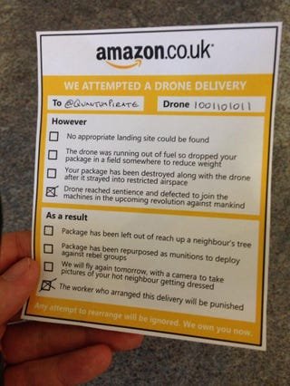 Illustration for article titled Amazon Drone Delivery slip