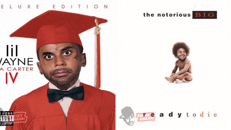 Illustration for article titled Iconic hip-hop album covers, now with 100 percent more Aziz Ansari