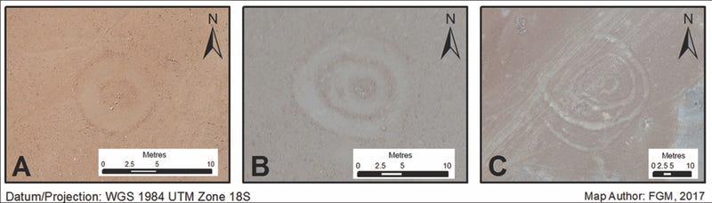 Illustration for article titled Arqueólogos descubren extraños geoglifos circulares muy cerca de las Líneas de Nazca en Perú