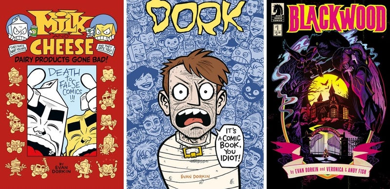 Covers for three of Evan Dorkin's projects.