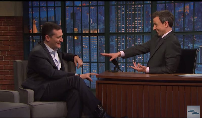 Illustration for article titled Seth Meyers Mocks Ted Cruz to His Face, Has Never Been Cooler