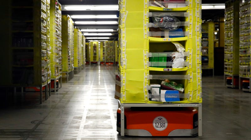 Robots at an Amazon warehouse in Baltimore.