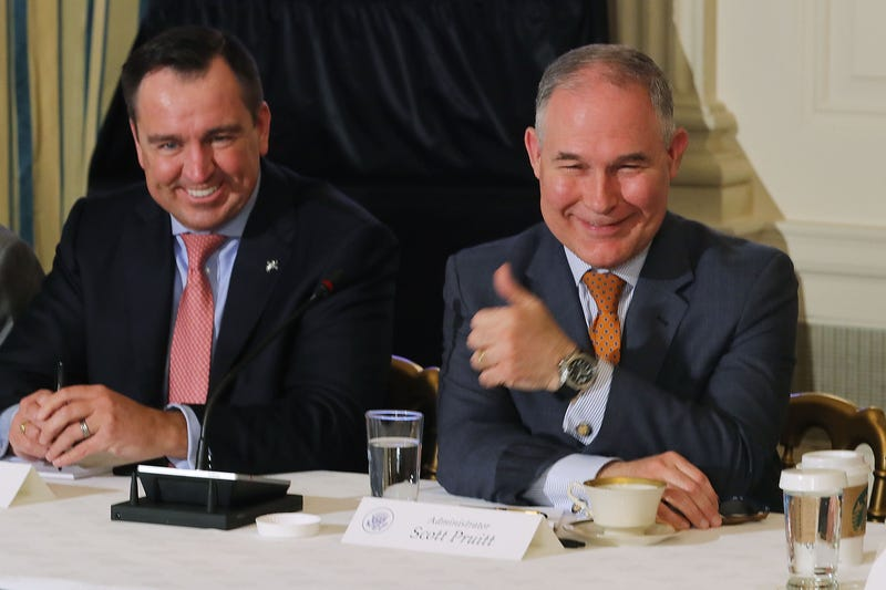 Environmental Protection Agency Administrator Scott Pruitt (right) gives a thumbs-up during a meeting with Utah Speaker of the House Greg Hughes and other state and local leaders in the State Dining Room at the White House in Washington, D.C., on Feb. 12, 2018.