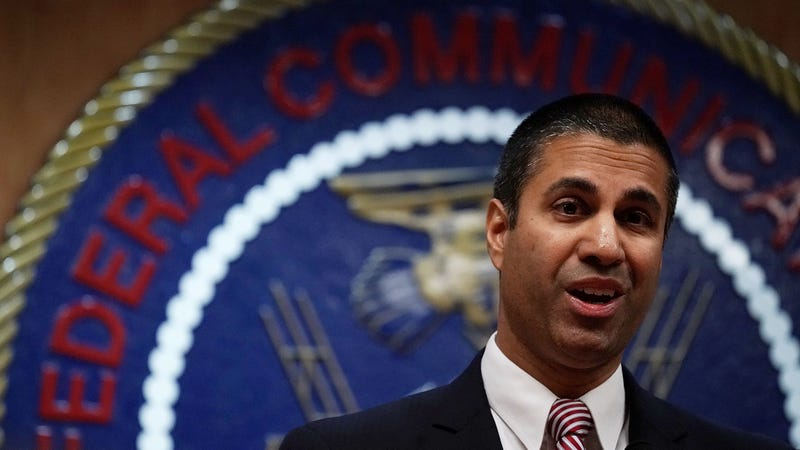 Federal Communications Commission Chairman Ajit Pai speaks to members of the media after a commission meeting December 14, 2017 in Washington, DC.