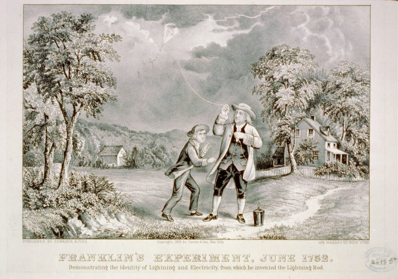Illustration for article titled Exactly 261 Years Ago, Ben Franklin Flew a Kite in a Lightning Storm