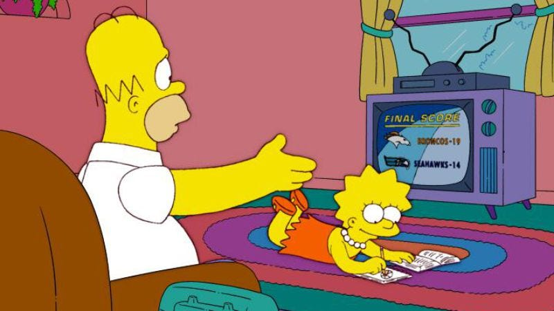 Illustration for article titled There's no need to have the Super Bowl, since The Simpsons already did it