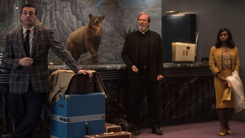 Jon Hamm, Jeff Bridges, and Cynthia Erivo in Bad Times At The El Royale
