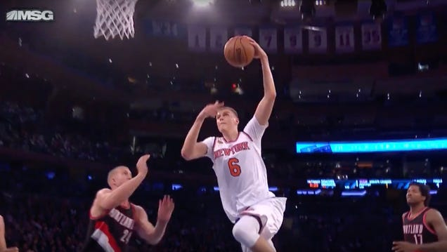 King Kristaps Dunked On A Plumlee
