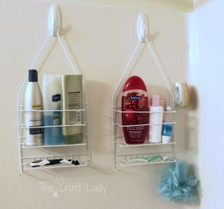 shower caddies usually hang from your shower head to add useful bathroom storage but you can also use them out of the shower too