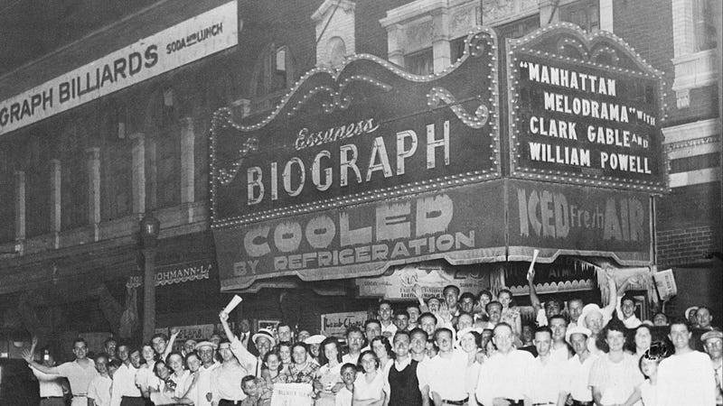 Okay actually this is a different theater—the one where John Dillinger was shot in 1934—but all these people probably ate candy. Photo via AP Images.