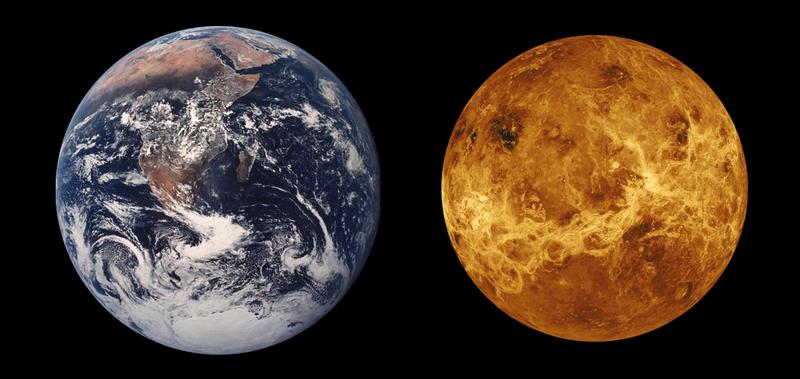Comparación de tamaños entre La Tierra y Venus