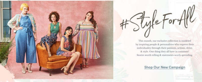 A screenshot of Modcloth's website