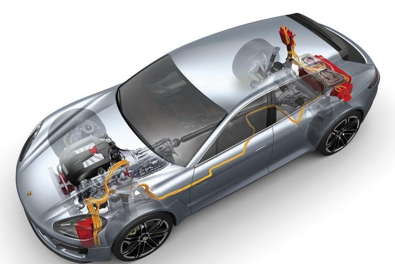 Photo: Porsche Panamera Sport Turismo Concept, shown for engine presentation. Ignore the batteries.