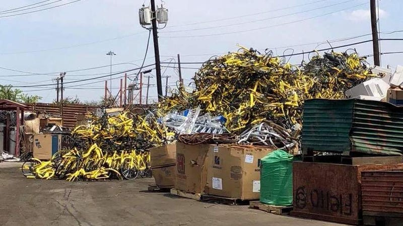 Ofo bikes showed up at a Dallas recycling center, after the company left the state.