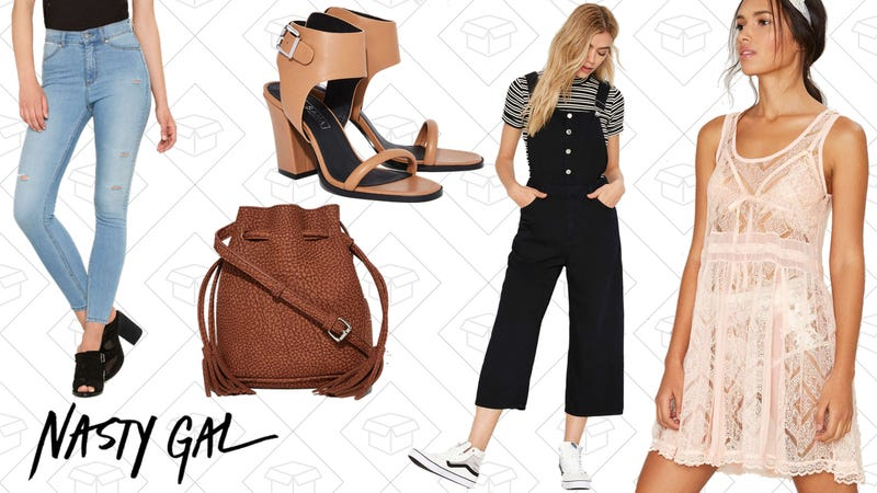 Cheap Monday High Spray Skinny Jeans, $43 | Sol Sana Mario Leather Heel, $76 | Luck of the Drawstring Textured Bucket Bag, $14 | Cheap Monday Later Denim Overalls, $55 | Not Your Babydoll Lounge Slip Dress, $24
