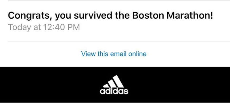 "Illustration for article titled Adidas Congratulates Runners On ""Surviving"" Boston Marathon, Says Sorry"
