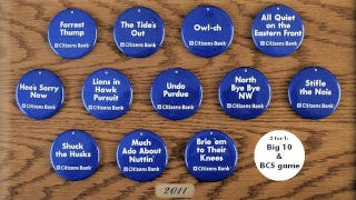 "Illustration for article titled ""Much Ado About Nuttin'"" And ""Brie 'Em To Their Knees"" Buttons Pulled For Remaining PSU Football Games"