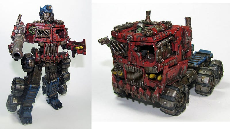Illustration for article titled When Optimus Prime Meets Warhammer, My Jaw Drops