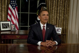President Obama in the Oval Office after announcing the end of combat operationsin Iraq. (Nicholas Kamm/AFP/Getty Images)