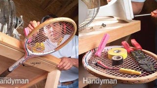 Reuse a Tennis Racket as a Swing-out Workbench Caddy