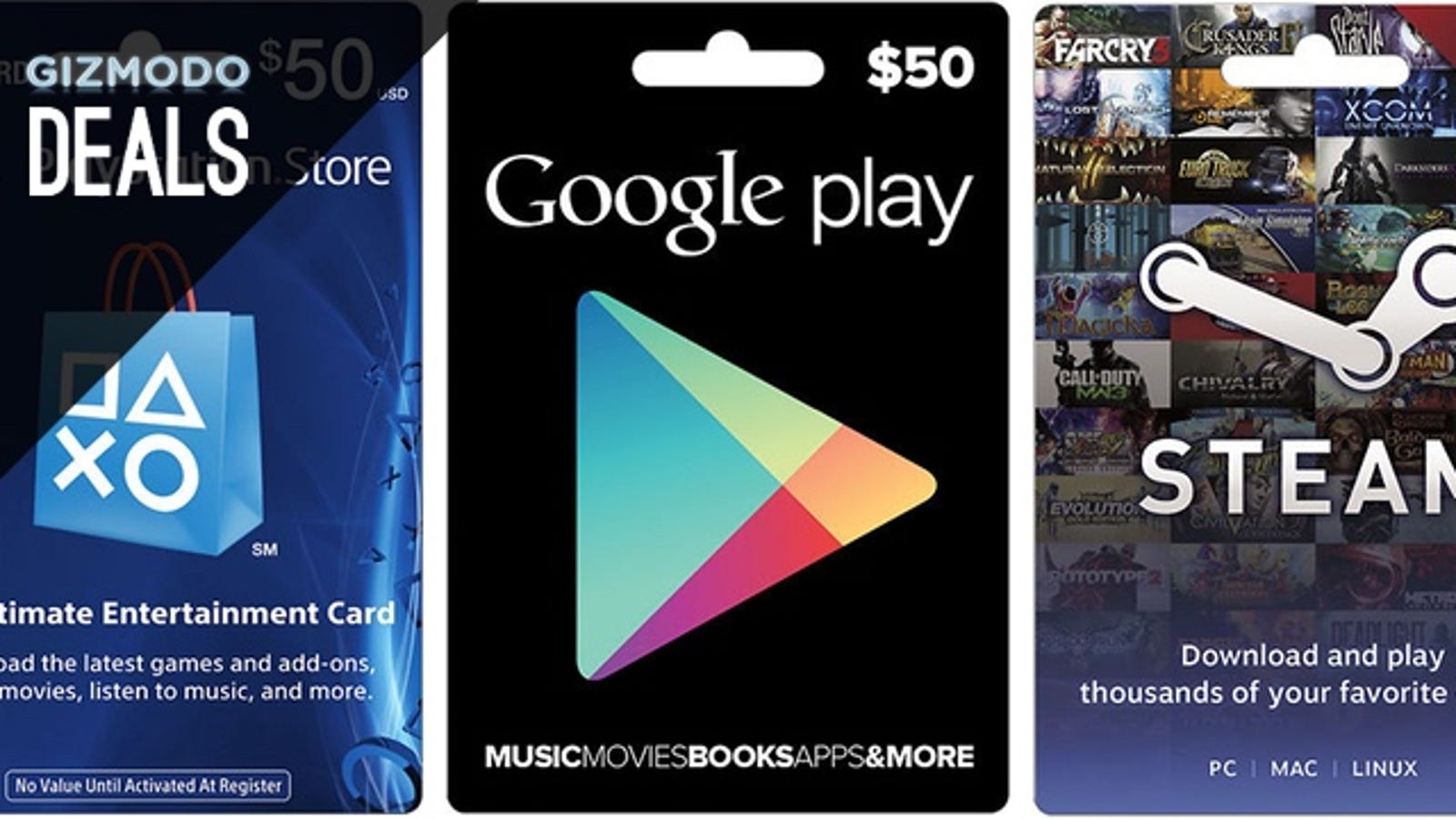 Spend $40, Get $50 on Google Play, Steam, and More, Plus More Deals