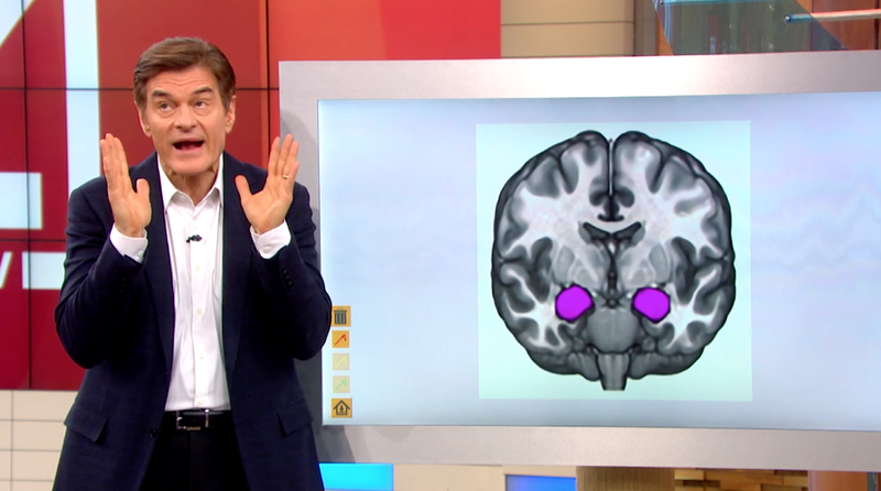 Dr. Oz in a screenshot from today's episode about fake news and alleged ways to measure how the brain reacts to it (Dr. Oz Show)