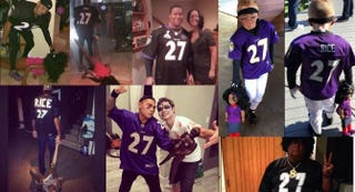 A compilation of distasteful Ray and Janay Rice costumesTwitter screenshot