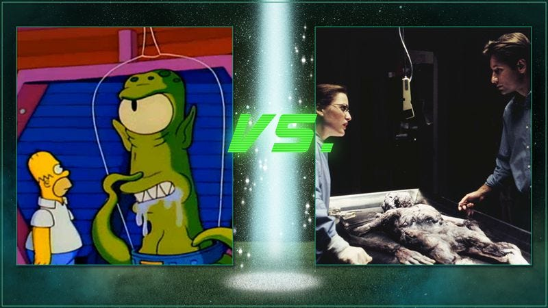 Illustration for article titled Vote The Simpsons or The X-Files in round 2 of our alien abduction bracket