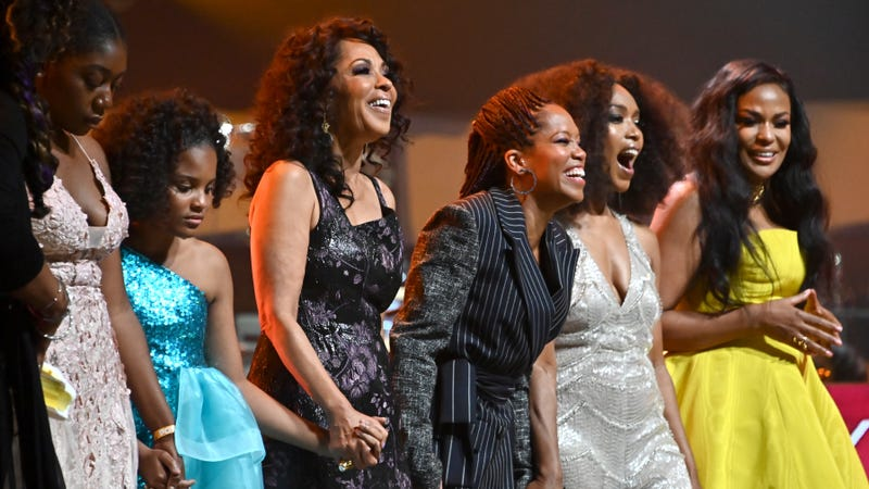 Debra Martin Chase, left, Regina King, Angela Bassett and Beverly Bond appear onstage at Black Girls Rock 2019 Hosted By Niecy Nash at NJPAC on August 25, 2019, in Newark, N.J.