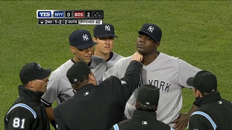 Illustration for article titled Michael Pineda Again Isn't Discreet About His Pine Tar, Gets Ejected
