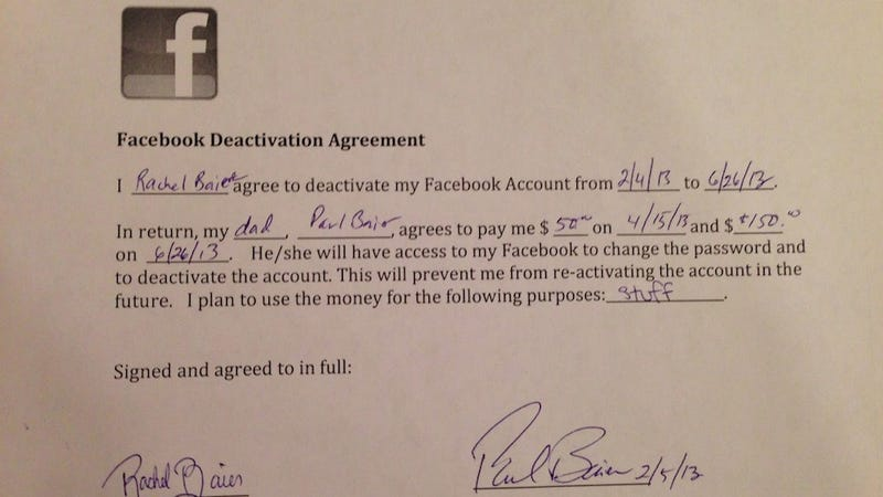 Illustration for article titled A Father Gave His Daughter a $200 Contract to Stay Off Facebook