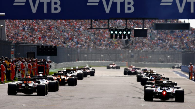 The Formula One field on the grid at the Russian Grand Prix.