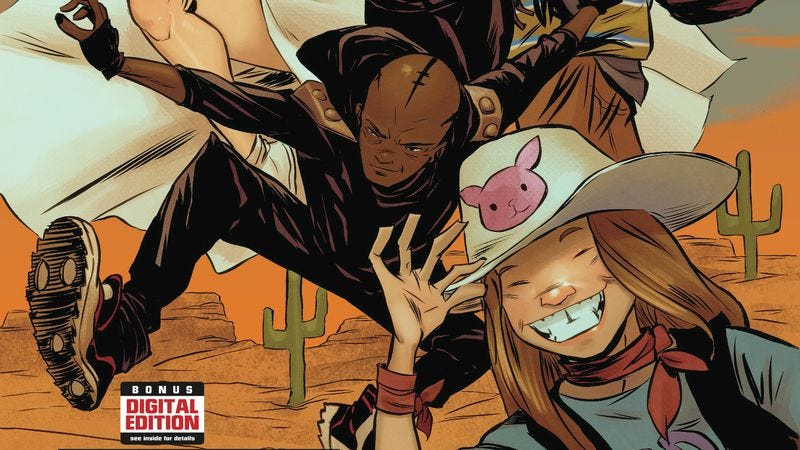 Illustration for article titled Exclusive Marvel preview: Doom's teen fugitives hit the Wild West in Runaways #3