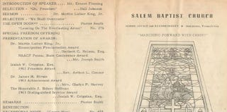Salem Baptist Church program from 1963 when Martin Luther King Jr. was the guest speaker