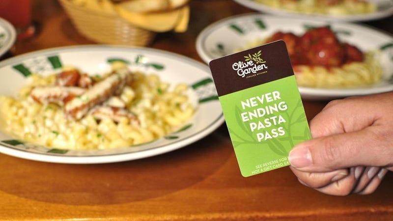 Illustration for article titled Desperados Now Trading Olive Garden Unlimited Pasta Passes on Ebay