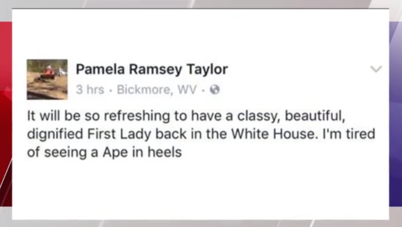 Pamela Taylor's Facebook post, apparently referring to Michelle Obama, stirred controversy in a small West Virginia town.WSAZ screenshot