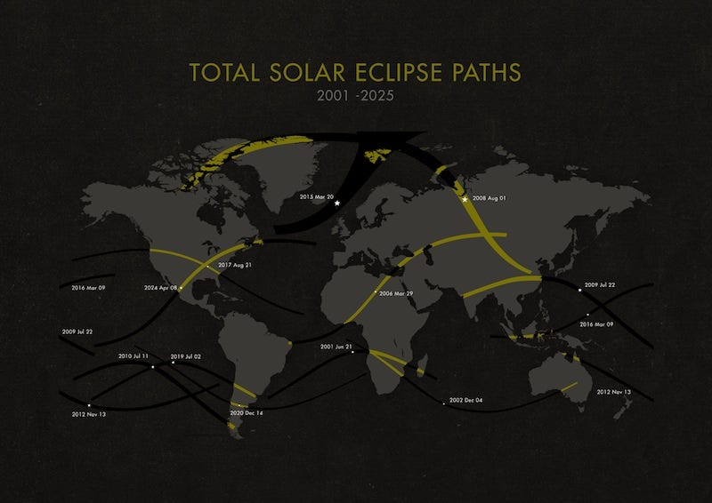 Illustration for article titled Total Solar Eclipses, 2001-2025