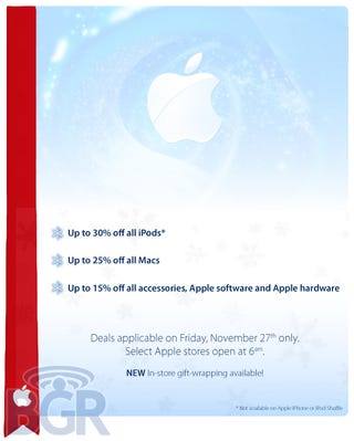 Illustration for article titled Apple Black Friday Possibly Leaked (I Really Want It to Be True)
