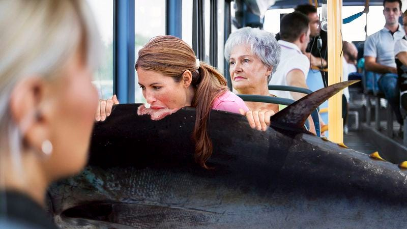 Illustration for article titled Inconsiderate Woman On Bus Eating Live Tuna
