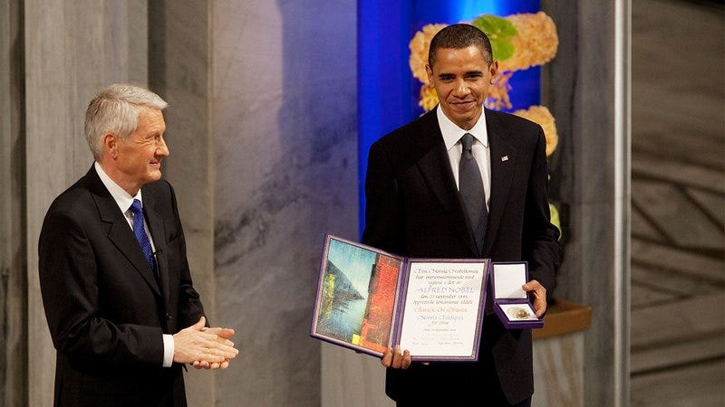 Obama accepting the Nobel Peace Prize