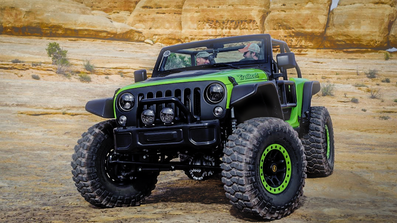 The 707 HP Jeep Wrangler Trailcat Is A Huge Green Penis Pump