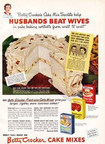 "Illustration for article titled ""Betty Crocker's Cake Mix Secrets Help Husbands Beat Wives!"""