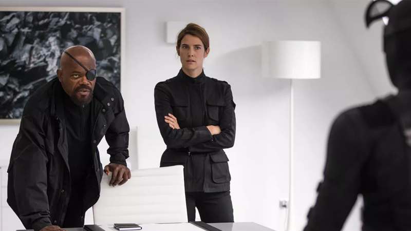Nick Fury and Maria Hill are up to a lot in Spider-Man: Far From Home.