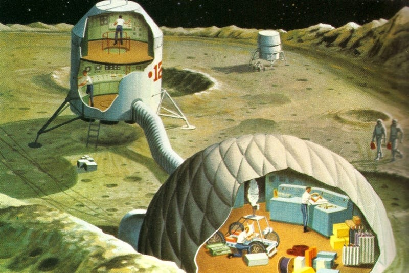 Illustration for article titled Lunar Colonies of the Future (1969)