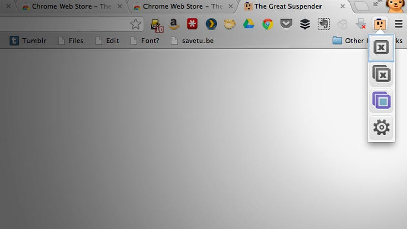 Illustration for article titled The Great Suspender Suspends Memory-Hungry Chrome Tabs You Haven't Used Lately