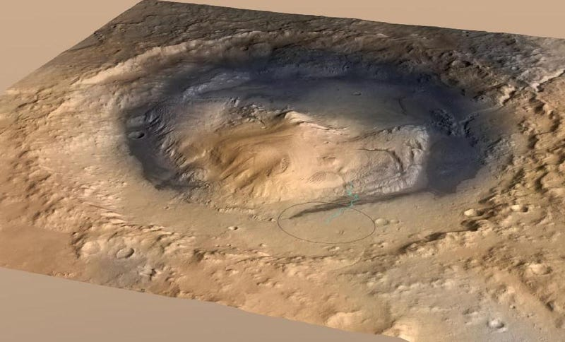 Gale Crater, the landing spot of NASA's Curiosity Mars rover, has a three-mile-high mound at its center called Mount Sharp. Image: NASA/JPL.